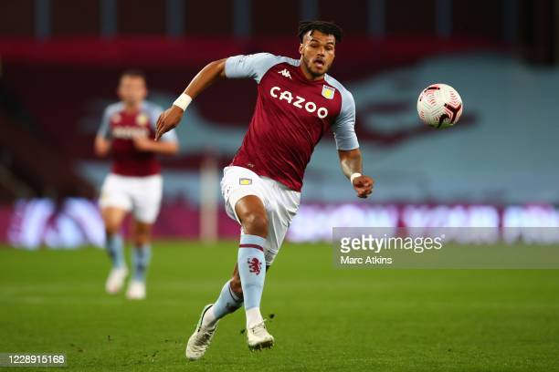 Tyrone Mings of Aston Villa during the Premier League match between Aston Villa and Liverpool at Villa Park on October 4, 2020 in Birmingham, United...