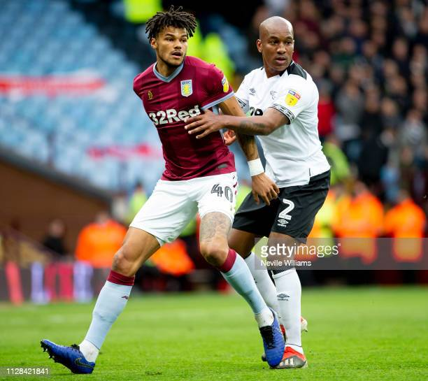 Tyrone Mings of Aston Villa during the Sky Bet Championship match between Aston Villa and Derby County at Villa Park on March 02 2019 in Birmingham...