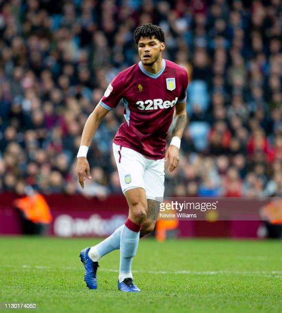 Tyrone Mings of Aston Villa during the Sky Bet Championship match between Aston Villa and West Bromwich Albion at Villa Park on February 16 2019 in...