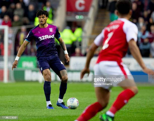 Tyrone Mings of Aston Villa during the Sky Bet Championship match between Rotherham United and Aston Villa at the New York Stadium on April 10, 2019...