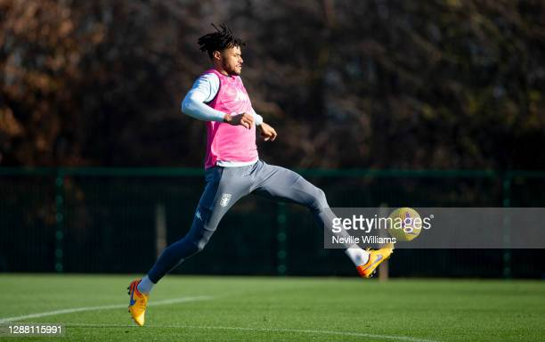 Tyrone Mings of Aston Villa in action during a training session at Bodymoor Heath training ground on November 26 2020 in Birmingham England