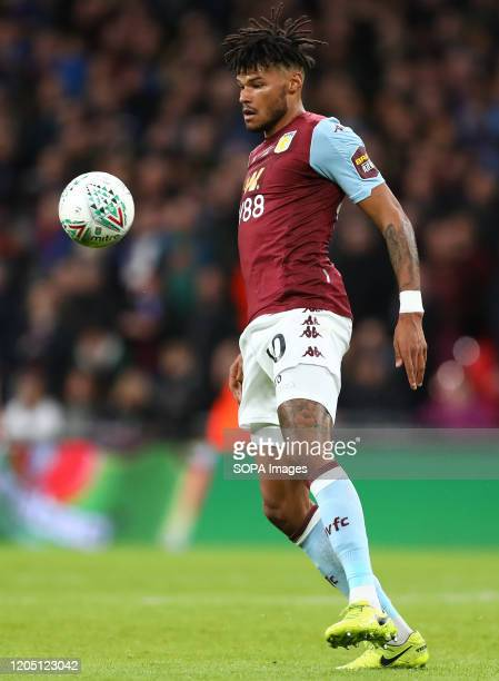 Tyrone Mings of Aston Villa in action during the Carabao Cup Final match between Aston Villa and Manchester City at Wembley Stadium