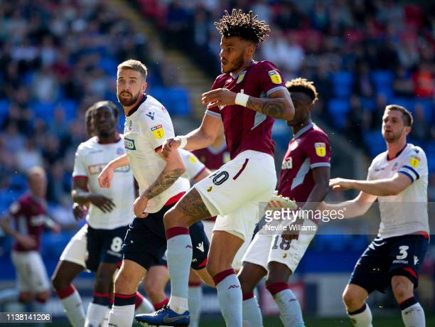 Tyrone Mings of Aston Villa in action during the Sky Bet Championship match between Bolton Wanderers and Aston Villa at the Macron Stadium on April...