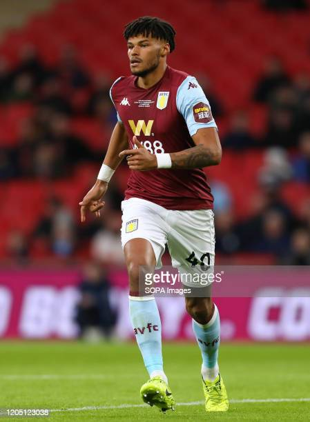 Tyrone Mings of Aston Villa is seen during the Carabao Cup Final match between Aston Villa and Manchester City at Wembley Stadium