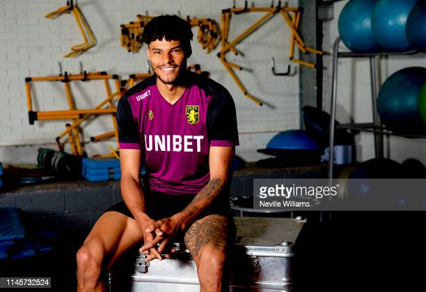 Tyrone Mings of Aston Villa poses during a photo shoot at Bodymoor Heath training ground on May 22 2019 in Birmingham England