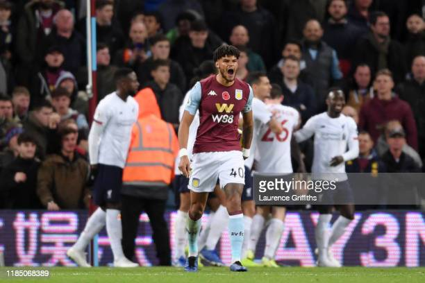 Tyrone Mings of Aston Villa reacts after Liverpool's second goal during the Premier League match between Aston Villa and Liverpool FC at Villa Park...