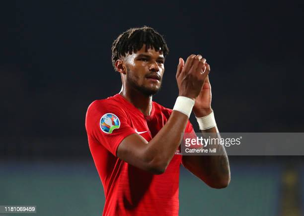 Tyrone Mings of England acknowledges the fans during the UEFA Euro 2020 qualifier between Bulgaria and England on October 14 2019 in Sofia Bulgaria