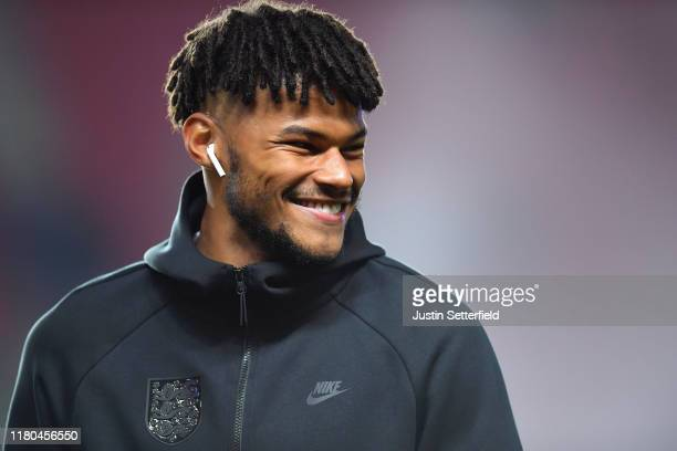 Tyrone Mings of England inspects the pitch ahead of the UEFA Euro 2020 qualifier between Czech Republic and England at Sinobo Stadium on October 11...