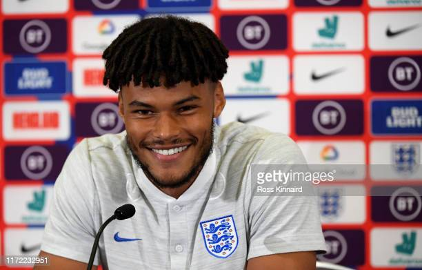 Tyrone Mings of England talking to the media during a press conference at St Georges Park on September 04 2019 in BurtonuponTrent England