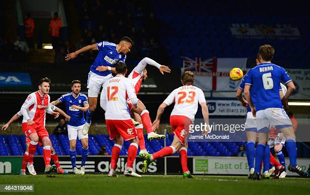Tyrone Mings of Ipswich Town scores their first goal with a header during the Sky Bet Championship match between Ipswich Town and Birmingham City at...