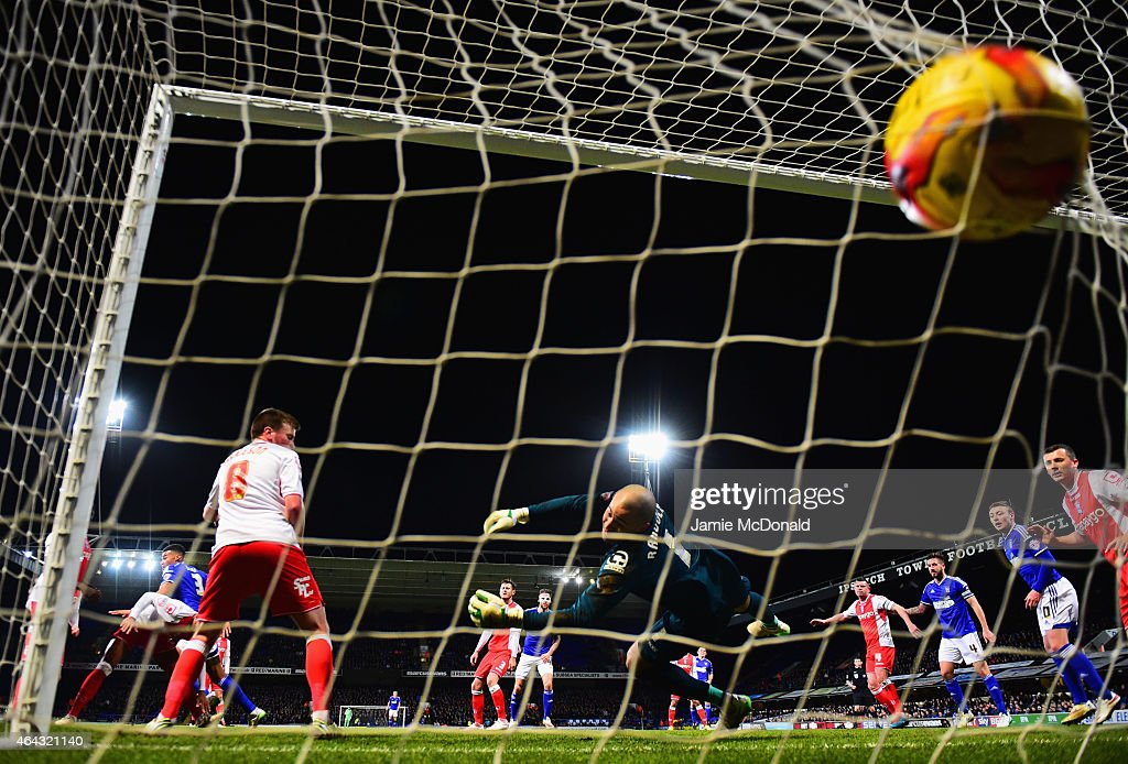 Tyrone Mings of Ipswich Town (3) scores their first goal with a header past goalkeeper Darren Randolph of Birmingham City during the Sky Bet Championship match between Ipswich Town and Birmingham City at Portman Road on February 24, 2015 in Ipswich, England.
