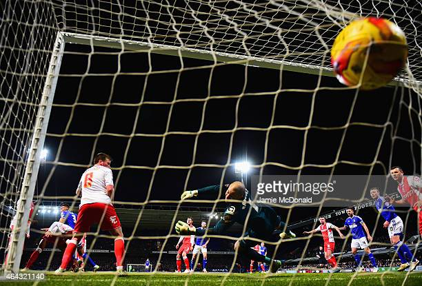 Tyrone Mings of Ipswich Town scores their first goal with a header past goalkeeper Darren Randolph of Birmingham City during the Sky Bet Championship...