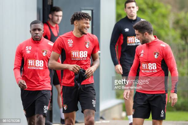 Tyrone Mings with Andrew Surman of Bournemouth during training on April 24 2018 in Bournemouth England