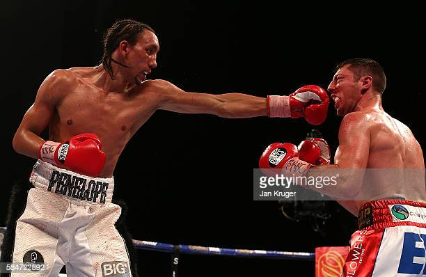 Tyrone Nurse in action against Tommy Coyle in the British Super-Lightweight Championship fight at First Direct Arena on July 30, 2016 in Leeds,...