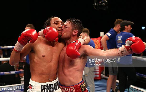 Tyrone Nurse is kissed by Tommy Coyle after their British Super-Lightweight Championship fight at First Direct Arena on July 30, 2016 in Leeds,...