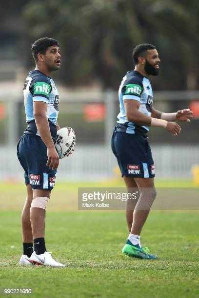 Tyrone Peachey looks on during a New South Wales Blues State of Origin training session at Coogee Oval on July 3 2018 in Sydney Australia