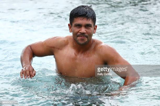 Tyrone Peachey of the Blues is seen in the ocean pool during a New South Wales Blues State of Origin Recovery Session at Coogee Beach on July 2 2018...