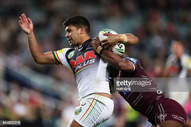 Tyrone Peachey of the Panthers is tackled during the NRL Elimination Final match between the Manly Sea Eagles and the Penrith Panthers at Allianz...
