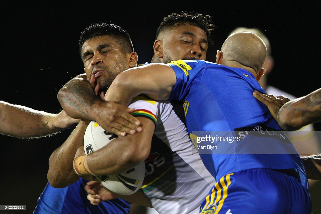 Tyrone Peachey of the Panthers is tackled during the NRL Trial match between the Penrith Panthers and Parramatta Eels at Pepper Stadium on February 18, 2017 in Sydney, Australia.