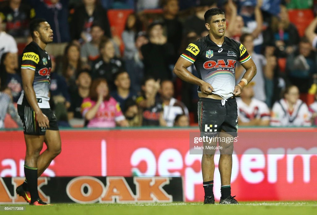 Tyrone Peachey of the Panthers looks dejected after defeat in the round three NRL match between the Penrith Panthers and the Sydney Roosters at Pepper Stadium on March 18, 2017 in Sydney, Australia.