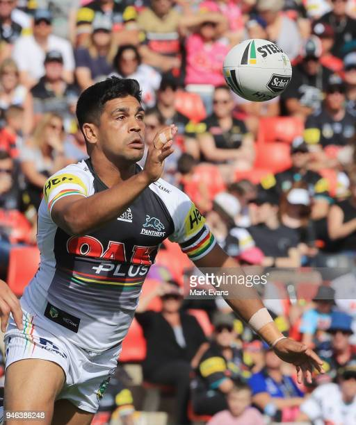 Tyrone Peachey of the Panthers passes the ball during the round six NRL match between the Penrith Panthers and the Gold Coast Titans on April 15 2018...