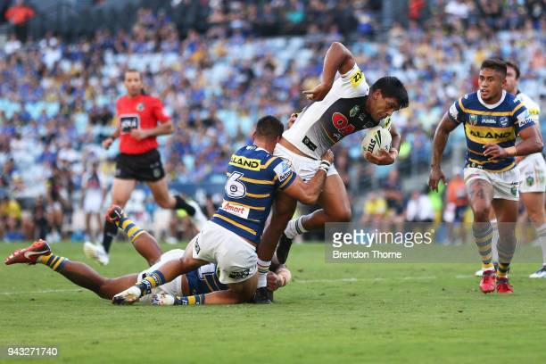 Tyrone Peachey of the Panthers runs the ball during the round five NRL match between the Parramatta Eels and the Penrith Panthers at ANZ Stadium on...
