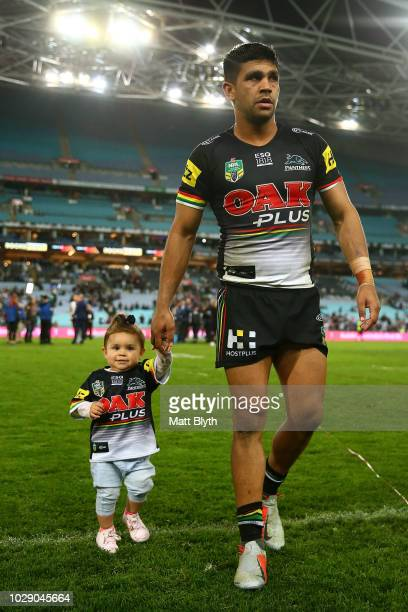 Tyrone Peachey of the Panthers with his daughter are seen after the NRL Elimination Final match between the Penrith Panthers and the New Zealand...