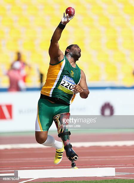 Tyrone Pillay of South Africa competes in the Men's Shot Put F42 Final during the Morning Session on Day One of the IPC Athletics World Championships...