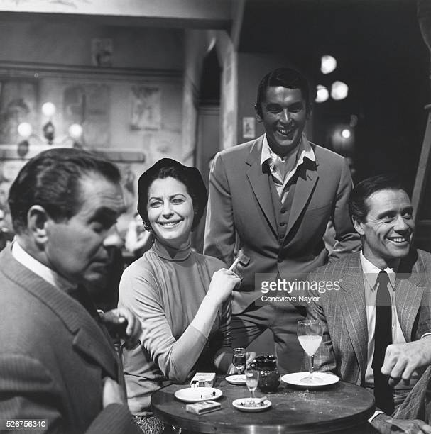 Tyrone Power Ava Gardner Robert Evans and Mel Ferrer on the set of The Sun Also Rises