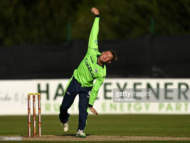 Tyrone , United Kingdom - 1 September 2021; Ben White of Ireland bowls during match three of the Dafanews T20 series between Ireland and Zimbabwe at...