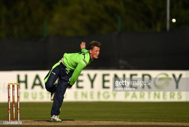 Tyrone , United Kingdom - 1 September 2021; Ben White of Ireland during match three of the Dafanews T20 series between Ireland and Zimbabwe at Bready...