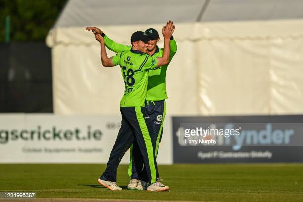 Tyrone , United Kingdom - 1 September 2021; Shane Getkate of Ireland, left, celebrates the winning wicket with Ben White during match three of the...