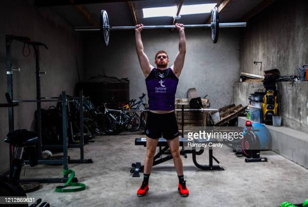 Tyrone United Kingdom 13 May 2020 Tyrone footballer Cathal McShane during a training session at his home in Tyrone on his return from an ankle injury...