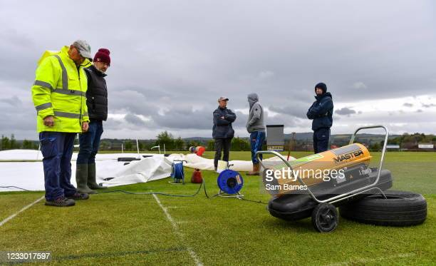 Tyrone , United Kingdom - 21 May 2021; An industrial dryer is used by grounds staff before the Cricket Ireland InterProvincial Cup 2021 match between...