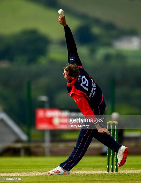 Tyrone , United Kingdom - 26 June 2021; Ben White of Northern Knights bowls during the Cricket Ireland InterProvincial Trophy 2021 match between...