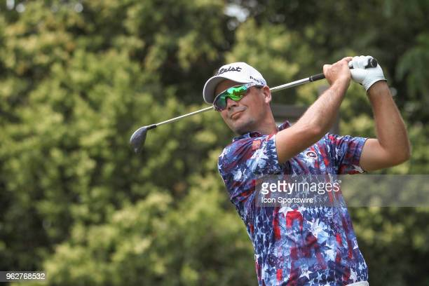 Tyrone Van Aswegen hits from the 9th tee during the third round of the Fort Worth Invitational on May 26 2018 at Colonial Country Club in Fort Worth...