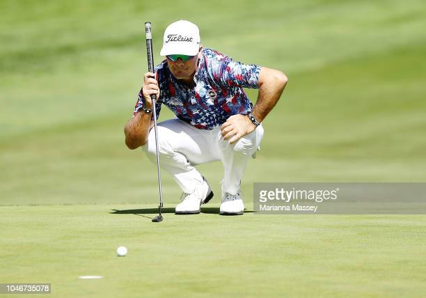 Tyrone Van Aswegen of South Africa lines up a putt on the sixth green during the third round of the Safeway Open at the North Course of the Silverado...