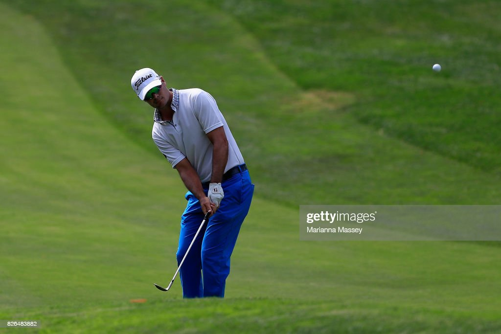 Tyrone Van Aswegen of South Africa plays his shot on the 17th hole during the second round of the Barracuda Championship at Montreux Country Club on August 4, 2017 in Reno, Nevada.