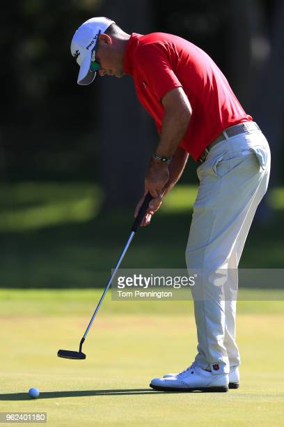 Tyrone Van Aswegen of South Africa putts on the eighth green during round two of the Fort Worth Invitational at Colonial Country Club on May 25 2018...