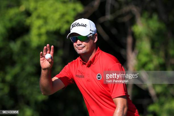 Tyrone Van Aswegen of South Africa reacts after a putt on the seventh hole during round two of the Fort Worth Invitational at Colonial Country Club...