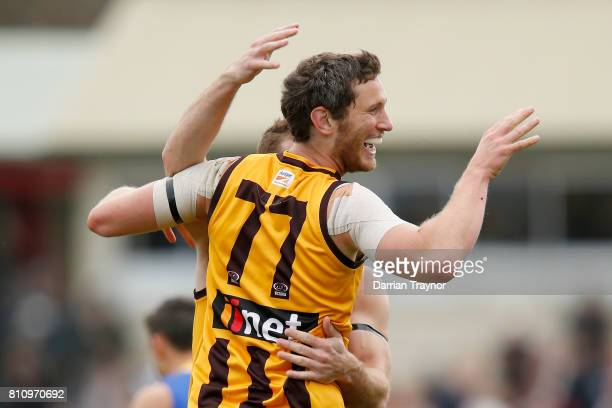 Tyrone Vickery of Box Hill celebrates a goal during the round 12 VFL match between Box Hill and Williamstown at Box Hill City Oval on July 9 2017 in...