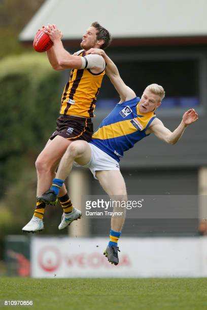 Tyrone Vickery of Box Hill marks the ball during the round 12 VFL match between Box Hill and Williamstown at Box Hill City Oval on July 9 2017 in...