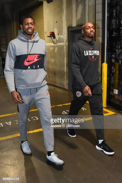 Tyrone Wallace and CJ Williams of the LA Clippers enter the arena before the game against the Milwaukee Bucks on March 27 2018 at STAPLES Center in...