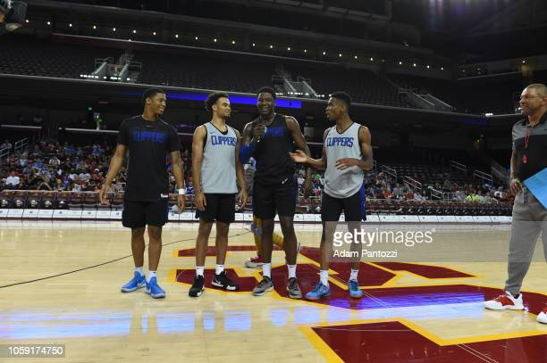 Tyrone Wallace Jerome Robinson Angel Delgado and Shai GilgeousAlexander of the LA Clippers talk to the fans during an open practice at the Galen...