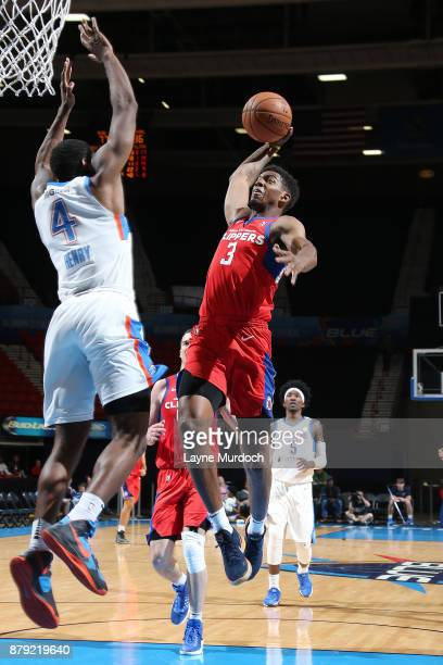 Tyrone Wallace of the Agua Caliente Clippers drives to the basket during a NBA GLeague game against the Oklahoma City Blue on November 25 2017 at the...