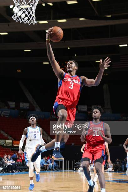 Tyrone Wallace of the Agua Caliente Clippers drives to the basket during an NBA GLeague game against the Oklahoma City Blue on November 25 2017 at...
