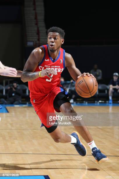 Tyrone Wallace of the Agua Caliente Clippers handles the ball during a NBA GLeague game against the Oklahoma City Blue on November 25 2017 at the Cox...