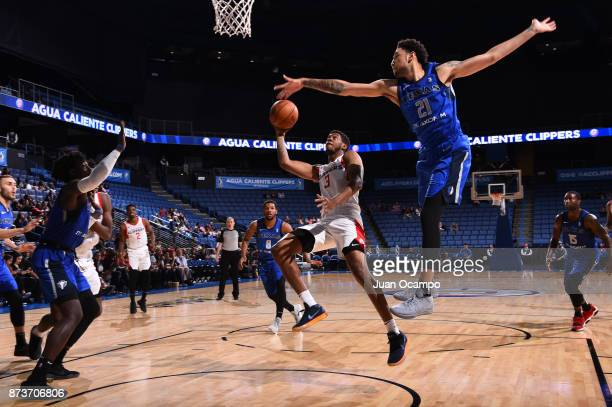 Tyrone Wallace of the Agua Caliente Clippers takes on the Texas Legends in Ontario on November 10 2017 at Citizens Business Bank Arena in Ontario...