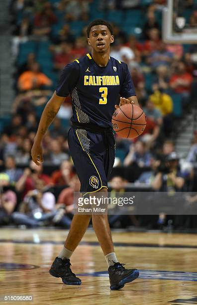 Tyrone Wallace of the California Golden Bears brings the ball up the court against the Utah Utes during a semifinal game of the Pac12 Basketball...