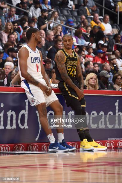 Tyrone Wallace of the LA Clippers and Gary Payton II of the Los Angeles Lakers talk during the game on April 11 2018 at STAPLES Center in Los Angeles...